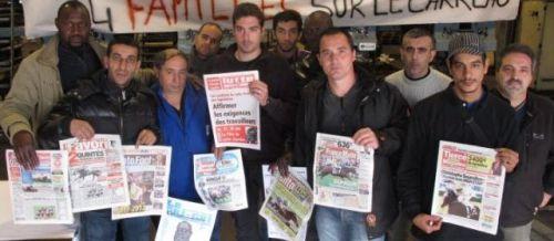 RUE DU PARC, LE BLANC-MESNIL, hier. Les 24 salariés de Rotos 93, une imprimerie placée en liquidation judiciaire le 29 mai, occupent leur usine jusqu'à ce qu'ils obtiennent un plan social.