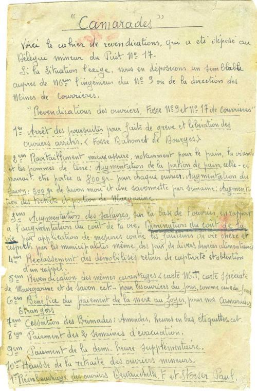 Cahier de revendications des ouvriers des fosses n° 9 et 17 des mines de Courrières.