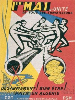 Affiche du 1er Mai 1960 : Pour la paix en Algérie (France)
