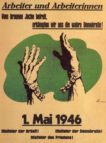 Affiche pour le 1er Mai 1946 en Allemagne