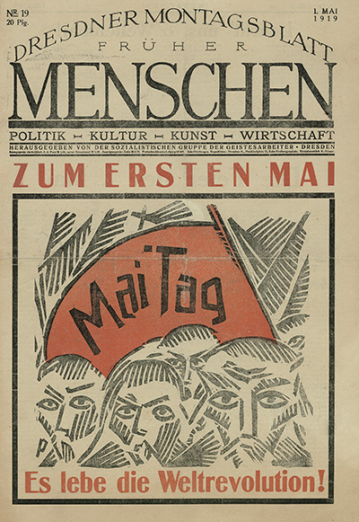 """""""Menschen"""" (Humains), journal socialiste des travailleurs immigrés à Dresde : """"1er Mai : Vive la Révolution Mondiale"""""""
