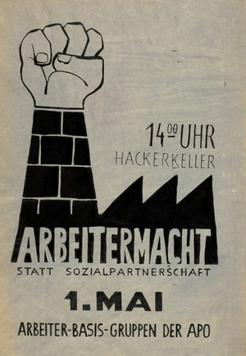 """Affiche pour le 1 Mai 1969 à Munich : """"Pouvoir ouvrier et non partenariat social"""""""