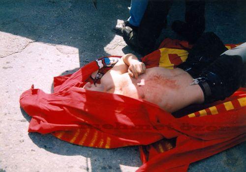 Victime de la répression à Istanbul, 1er mai 1996
