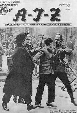 """Une du magazine communiste AIZ après le """"Blutmai"""""""
