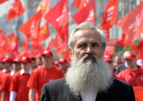 An elderly man at the Ukrainian Communists march and rally marking in Kiev