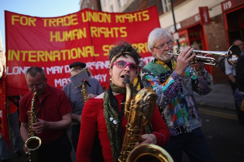 A band plays during the annual May Day march in London