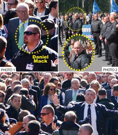 Photo 1 : 1er mai 2012, Daniel Mack assure la protection des dirigeants du Front national. Photo 2 : treize jours plus tard, on le retrouve dans les rangs des « Jeunesses » nationalistes révolutionnaires de Serge Ayoub. Photo du bas : à l'arrière plan, de gauche à droite, toute la direction du FN (Bruno Gollnisch, Jany Le Pen (derrière elle Florian Philippot), Jean-Marie Le Pen, Marine Le Pen, Louis Alliot, Gilbert Collard… Sous la protection du JNR Daniel Mack.