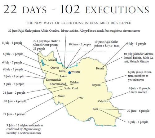 Carte des exécutions ces 22 derniers jours en Iran