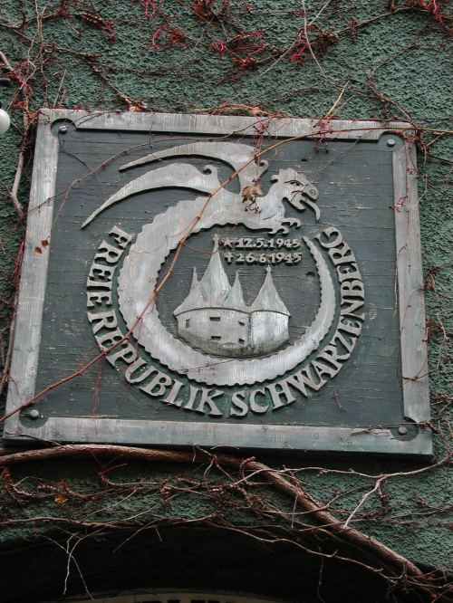 "Plaque commémorative de la ""Freien Republik Schwarzenberg"""