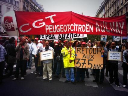 Travailleurs de PSA Aulnay à la manifestation du 10 septembre à Paris