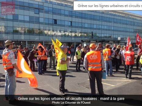 Angers. Grève sur les lignes urbaines et circuits scolaires : manif à la gare