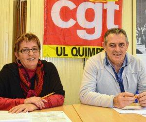 Manif du 23. «Que les salariés se fassent entendre». Marie-Annick Le Berre et Yvon Coat, de l'Union locale CGT de Quimper.