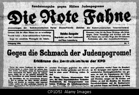 National Socialism, resistance, communist newspaper Die Rote Fahne (The Red Flag), catch line: Gegen die Schmach der Judenpog