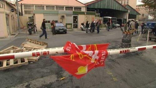 Blocage d'un dépôt de la RTM à Marseille