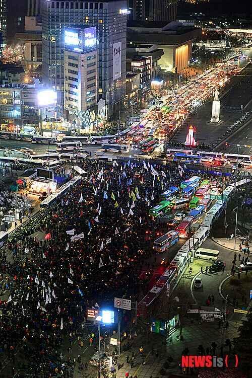 Manifestation de travailleurs tôt ce matin à Séoul