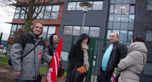 Des salariés ont répondu à l'appel à la grève de la CGT ce mardi en fin d'après-midi.
