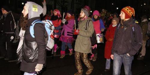 Manifestation contre le bal annuel de l'extrême droite à Vienne, le 24 janvier. | AFP/DIETER NAGL