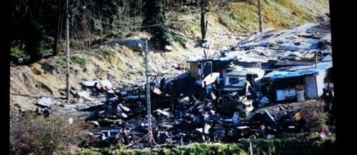Bobigny, quartier des Coquetiers, mercredi 12 février 2014. Environ un cinquième du camp a été détruit par l'incendie qui a fait un mort.