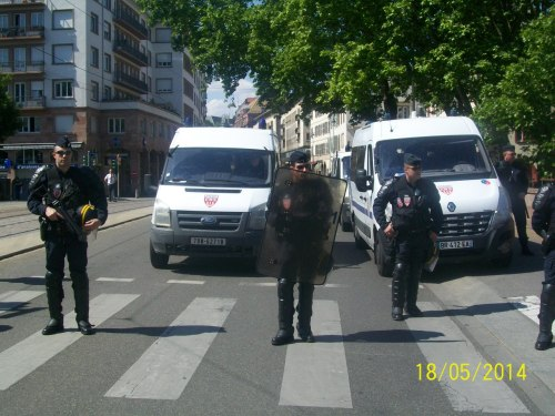 Forte présence des CRS au centre de Strasbourg