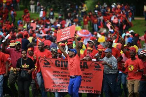 Des membres du syndicat Numsa réclament de meilleurs salaires à Johannesburg le 19 mars 2014 afp.com - Mujahid Safodien