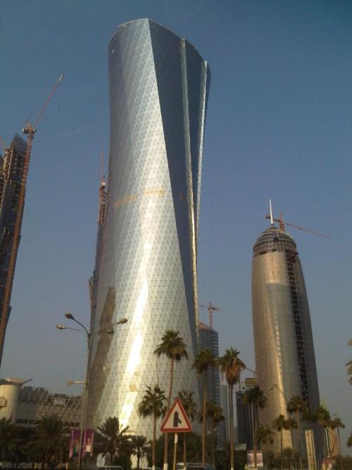 "La tour Al Bidda à Doha, surnommée la ""tour du football"""