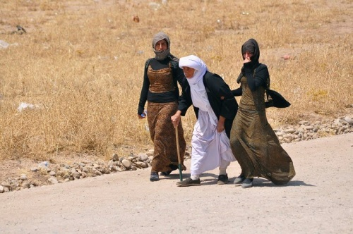 displaced-families-minority-yazidi-sect-fleeing-violence-walk-outskirts-sinjar-west
