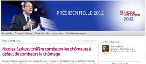«Nicolas Sarkozy préfère combattre les chômeurs à défaut de combattre le chômage», dénonçait le Parti socialiste, en février 2012. | Capture d'écran site du Parti socialiste