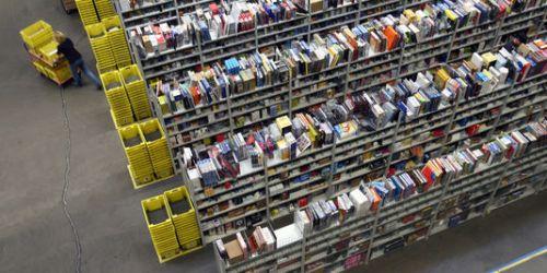 Des rayonnages de livres dans un centre logistique d'Amazon, à Bad Hersfled, en Allemagne, en 2007. | JENS-ULRICH KOCH/AFP