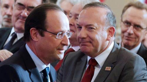 François Hollande et le président du Medef, Pierre Gattaz, le 21 janvier 2014 à l'Elysée. Photo Philippe WOJAZER / AFP