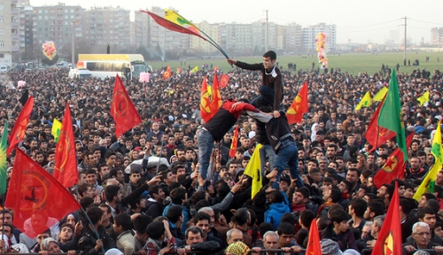 People gather to celebrate in the Kurdish-dominated city of Diyarbakir in southeastern Turkey