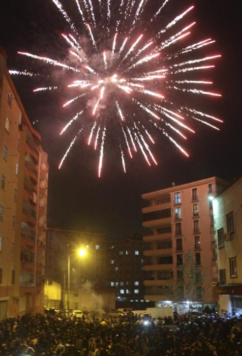 Fireworks explode overhead as people celebrate in Diyarbakir, after Kurdish forces took full control of Kobani