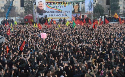People gather to celebrate in the Kurdish-dominated city of Diyarbakir