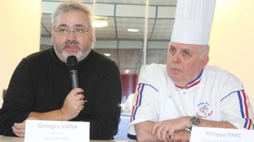 Georges Viana, président de la SAS Jeannette 1850, et le pâtissier Philippe Parc, Meilleur ouvrier de France et champion du monde des desserts. | Pascal Simon