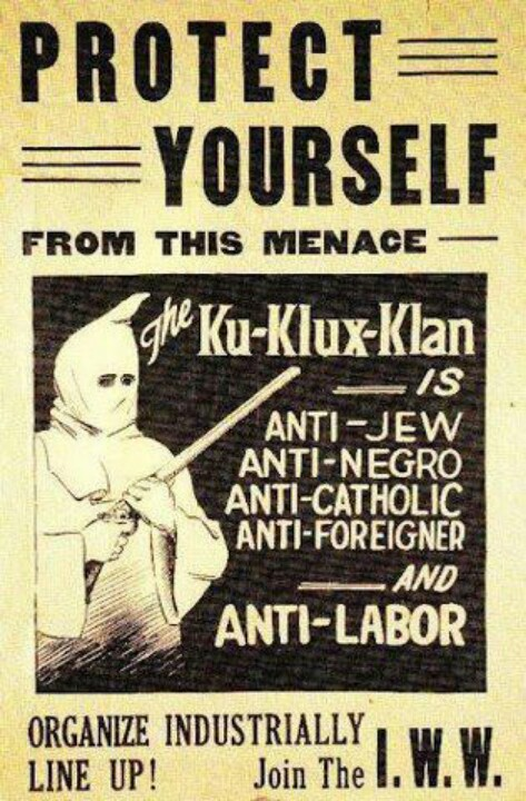 Affiche des Industrial Workers of the World des années 1920/1930 contre le Ku KUx Klan