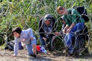 Des migrants passent la frontière au niveau du village hongrois de Röszke pour entrer en Serbie, le 28 août 2015 - AFP/Archives