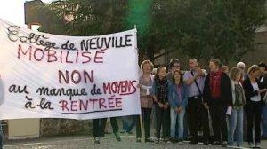 © FTV Enseignants et parents d'élèves du collège Jean-Rostand de Neuville-de-Poitou (86) s'étaient déjà mobilisés en juin dernier.