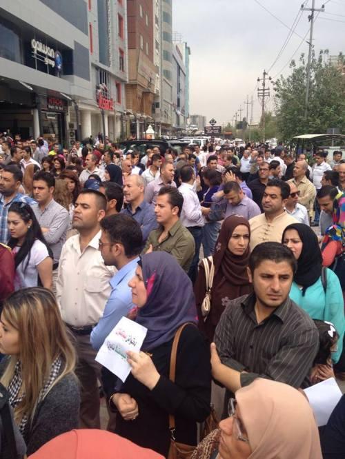 Manifestation pour les salaires à Souleimaniye