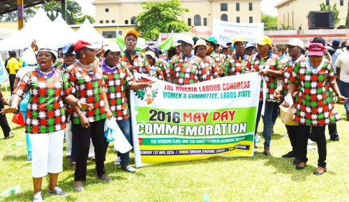 PIC.2.THE NIGERIA LABOUR CONGRESS WOMEN'S COMMITTEE, LAGOS STATE,  AT THE 2016 MAY DAY  COMMEMORATION IN LAGOS ON SUNDAY (1/5/16). 3275/1/5/2016/BOA/CH/NAN
