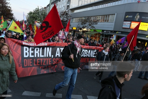 Thousands of activists took part anti-capitalism march in Berlin-Kreuzberg during the International Labor Day.